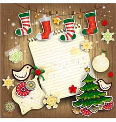 Christmas cute greeting cards design vector 06 - Vector Card free download