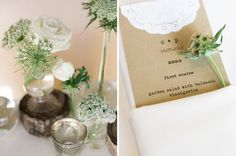 Kraft doily + antique typewriter font wedding reception menu + scabiosa pods