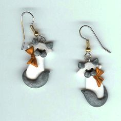 Siamese Himalayan Kitty Cat Earrings Polymer Clay par Freeheart1