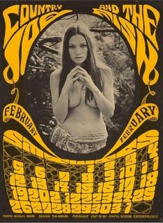 Psychedelic Peace Country Joe and the Fish February 1967 ( psychedelic rock poster art / music poster) Rock Posters, Hippie Posters, Band Posters, Color Posters, Vintage Concert Posters, Vintage Posters, Norman Rockwell, Psychedelic Music, Psychedelic Posters