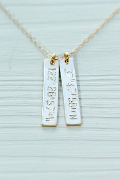 would be cool gifts for the Bride from Groom and visa versa.... Latitude longitude necklace - GPS coordinates necklace - gold bar necklace - engraved necklace - engraved jewelry - gold jewelry - nameplate...