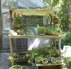 Oh, the sweetness!  A rustic potting bench for you...