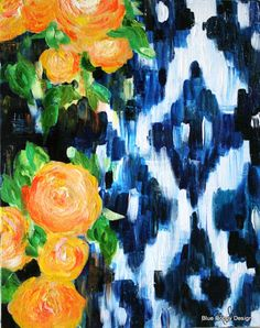 "Original Contemporary Floral Still Life Blue Ikat with Yellow Roses, ""Garden Party"" 16"" x 20"""