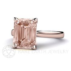 Morganite Ring Solitaire Morganite Engagement Ring by RareEarth, $1185.00