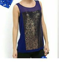 Gorgeous top by Cluny Great party top, amazing deep color of purple with puter/gold sequins. Silk and nice to the touch on the back, front is rayon and spandex. Small slits on the sides. cluny Tops