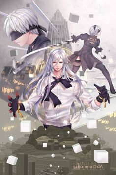 Nier Automata: Artbook illustration by sakonma on DeviantArt Nier Automata, Shadow Of The Colossus, Adam And Eve, Video Game Characters, Manga, Anime, Cute Wallpapers, Game Art, Book Art