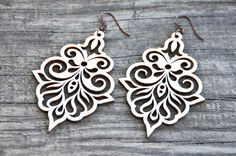 Filigree Laser Cut Wood Earrings by MoodWoodShop on Etsy