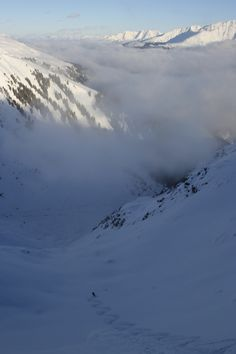 Himay all the way.  Jimmy P breaks through the clouds.  Disentis, Switzerland. #clouds #skiing #mightydread