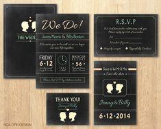 Chalkboard Wedding Invitation Set Mr and Mrs by NoaOfirDesign