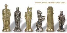 Chess.  Romans & Barbarians Theme Chess Set Brass & Nickel by Italfama.  http://www.thechessstore.com/product/MS093MIT/Romans-Barbarians-Brass-Chess-Set.html