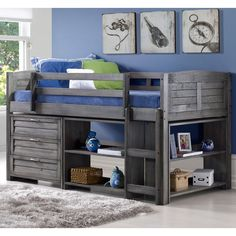 Evan moderne Twin faible Loft lit avec rangement