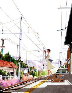 (reading at the train station) Kim Ji-Huyck