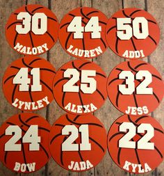 Basketball Cut Outs set of 12 Basketball Crafts, Basketball Party, Basketball Posters, Basketball Teams, School Spirit Posters, Cheer Posters, Locker Signs, Sports Locker, Baby Name Banners