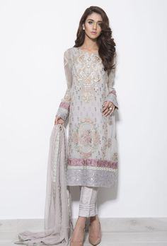Grey georgette suit with dupatta