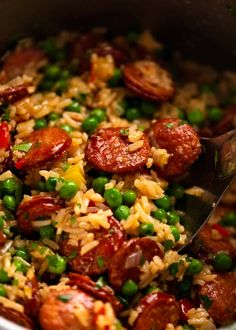 Top Recipes, Rice Recipes, Delicious Recipes, One Pot Meals, Easy Meals, Sausage And Rice Casserole, Chorizo Recipes, Smoked Sausage Pasta Recipes, Canning Refried Beans
