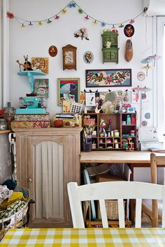 Thinking of setting up a craft corner at home? Lise Meunier reveals how vintage knick knacks triggers creative thought