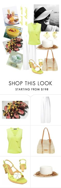 """Summertime Gal Pal Reunion"" by christined1960 ❤ liked on Polyvore featuring Salsa, Disney, Diane Von Furstenberg, Doriane van Overeem, Liebeskind, Borgo degli Ulivi, Gigi Burris Millinery, cropped, whitepants and pistachio"