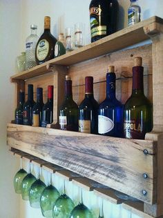 """The Great Lakes Wine Rack is Hand Made from 100% Reclaimed Wood and makes a perfect Custom Wall Decor Accent to any room. It measures 40"""" Long by 17"""" High by 5"""