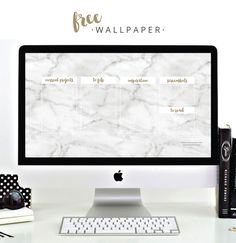 FREE Desktop Wallpaper / White Marble + Gold / Organise and Clean up your Desktop FREEBIE www.caseyjoan.com Passionate + Creative Businesses