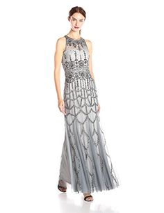Adrianna Papell Women's Halter Beaded Gown, Slate, 10 Adrianna Papell http://smile.amazon.com/dp/B00V8ZJDX6/ref=cm_sw_r_pi_dp_IVq4wb1C33QFV