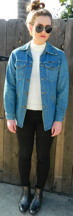 Vintage Wrangler men's women's denim jean jacket button up westernheavy stitching with pockets by VELVETMETALVINTAGE on Etsy