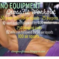 No Equipment CrossFit Workout More from my site Crossfit workout you can do at home with no equipment needed! CrossFit Workout for Traveling or Having Minimal Equipment Crossfit Workouts For Beginners, At Home Workouts, Fitness Tips, Fitness Motivation, Health Fitness, Fitness Plan, Hiit, Crossfit At Home, Physical Fitness