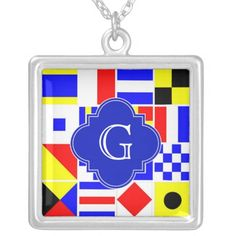 Shop Nautical Signal Flags Royal Quatrefoil Monogram Silver Plated Necklace created by FantabulousPatterns. Wedding Necklaces, Monogram Necklace, Quatrefoil, Flags, Silver Plate, Nautical, Graphic Design, Pendant, Navy Marine