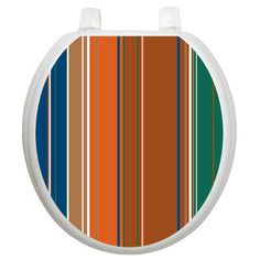 Toilet Tattoos Wallpaper Stripes Toilet Seat Decal Size: Round, Color: Cool Stripes