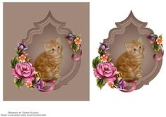 Sweet Ginger Kitten Card Topper on Craftsuprint designed by Tammy Clarke - Sweet design and quick to make. Suitable for any occasion. - Now available for download!