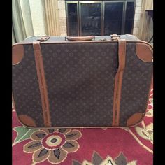 Will TRADE Louis Vuitton Monogram Suitcase 30 Inch View additional post for more photos. Need of repair to leather strip. Shoe repair place will be able to sew it back down. One cut in leather. Also Great decor or photo prop. View photos. Smoke free pet free home.  Interior great condition for being vintage.  LOOKING TO TRADE!  Michele watch, Yurman, Neverfull LV, Tag watch, ....... Working zipper:) Louis Vuitton Bags Travel Bags
