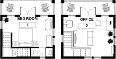 A small building plans perfect for a productive retreat or to give guests their own space. Guest house design at its best. Backyard Buildings, Small Buildings, Green Garden, Building Plans, Floor Plans, Home And Garden, Design Ideas, House Design, How To Plan