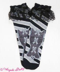 Angelic Pretty: Candy Ribbon Stripe Crew Sock in black