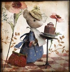 La Gourmande, carte postale MissClara, Coté Bord'eau Miss Clara, Paper Artist, Mice, Needle Felting, Childrens Books, Whimsical, Dolls, Country, House