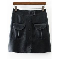 Black Button PU Skirt With Pocket (47 BAM) ❤ liked on Polyvore featuring skirts, pu skirt and pocket skirt