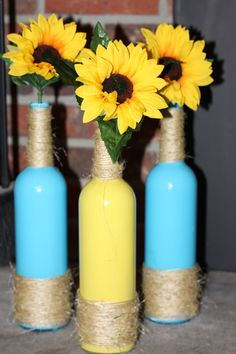 Rustic Painted Wine Bottles with Sunflowers by Customcowgirl, $30.00
