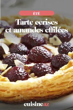Cette tarte aux cerises et amandes effilées est un dessert d'été aux fruits.  #recette#cuisine#tarte #cerise #amande #cerises #fruit#patisserie#ete Mets, Waffles, Cereal, Fruit, Breakfast, Desserts, Food, Sliced Almonds, Tarts