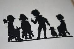 Vintage Silhouette Print Children Cat Black & White via SidneyandCharlotte