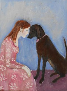 Hound of My Heart an original oil painting by EasybeastDesigns, $175.00