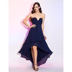 A-line V-neck Natural Asymmetrical Georgette Evening Dress(722106) – USD $ 89.69 sz 2-26w
