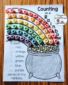 St. Patrick's Day Rainbow Counting Math Activity plus additional rainbow activities #stpatricksday #stpatricksdaymath #stpatricksdayactivities Rainbow Activities, Rainbow Crafts Preschool, Math Crafts, St Patrick's Day Crafts, Math Activities For Preschoolers, Preschool Activities, Letter Crafts, Number Activities, Holiday Activities