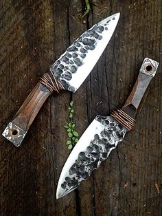 These aren't meant to be a 'pretty' knives, they're meant to look like they came out of Mad Max, Fallout, or Book of Eli. They're each hand forged from an old lawnmower blades, and made from scaven.