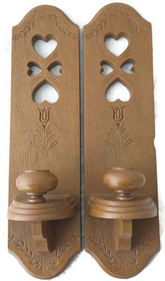 Vintage Syroco Sconces Heart Cut Outs Wall Candle Holders Pair Set of 2 two vintage sconce candle holders  Approximate measurements: 15.5 inches