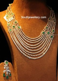 18 carat gold multi layered bridal diamond necklace and earrings set adorned with diamonds and emeralds. Emerald Jewelry, Diamond Jewelry, Gold Jewelry, Fine Jewelry, Beaded Necklaces, Pearl Jewelry, Diamond Pendant Necklace, Diamond Bracelets, Bangles