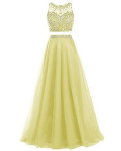 Bridesmay Long Tulle Prom Dress Beaded Two Piece Evening Dress Party Dress Yellow Size 8