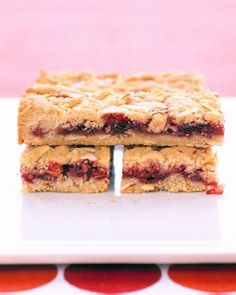 Almond Fruit Bars Recipe | replace flour with GF flour, butter with Earth Balance, egg with applesauce...