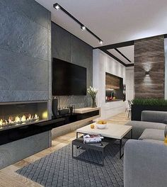 Luxxu Home has for you the best inspirations of interior design See more at Living Room Decor Fireplace, Living Room Decor Cozy, Fireplace Design, Living Room Modern, Home Living Room, Living Room Designs, Fireplace Remodel, Apartment Design, Home Interior Design