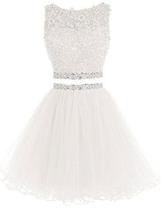 Lilibridal Two Pieces Short Beaded Prom Dress Tulle Applique Homecoming Dress - Fashion Ideas - Luxury Style Backless Homecoming Dresses, Two Piece Homecoming Dress, Prom Dresses 2016, Cute Prom Dresses, Dresses Short, Beaded Prom Dress, 15 Dresses, Pretty Dresses, Formal Dresses