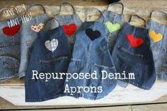 repurposed denim pant-leg aprons