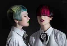 Very cool hair collection by Sergey Zaranko featuring page boy haircuts in dark colors with a colorful wedge in the front!