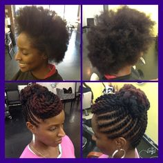 Natural Hair- Flat Twist Updo (Bespoke Enhanced) Before/After
